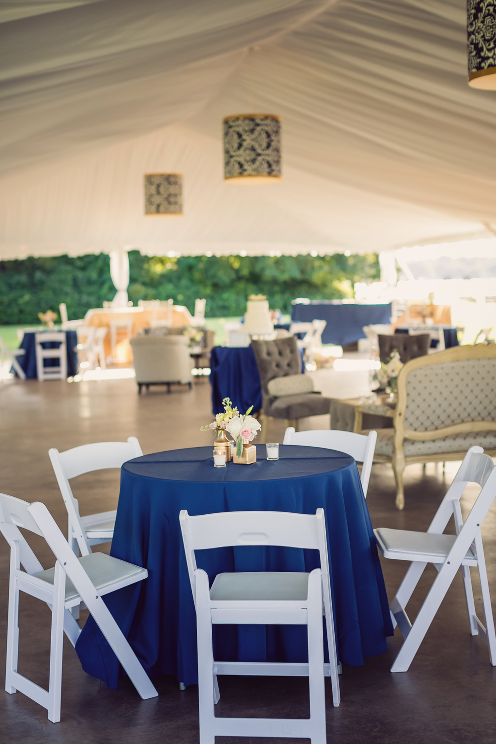 Gold and navy blue Charleston wedding design by Engaging Events