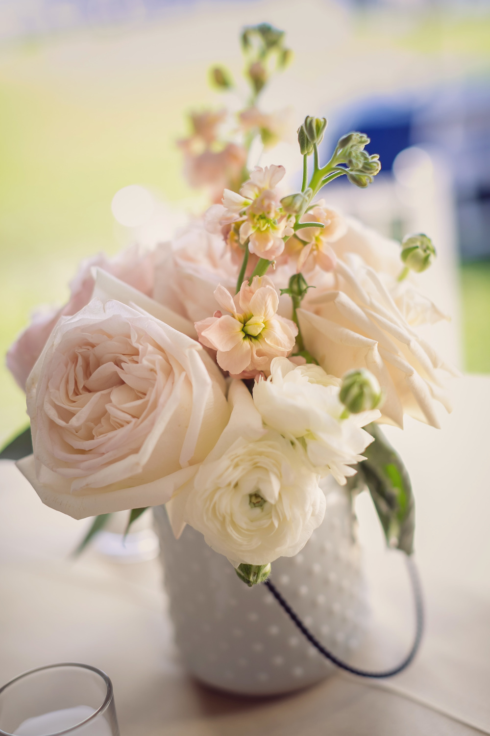 White rose centerpiece at Charleston wedding by Engaging Events