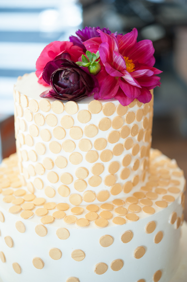 Gold polka dot cake by Charleston vendor Wildflour Pastry