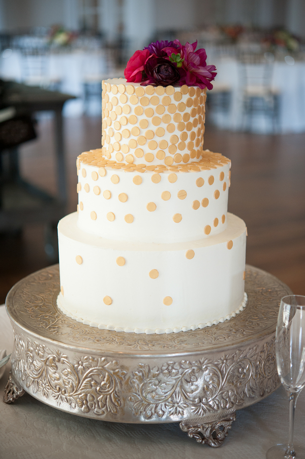 Charleston wedding cake with gold dots by Wildflour Pastry