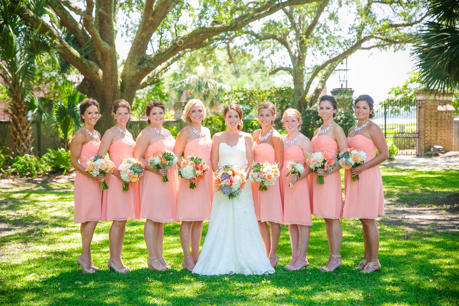 Peach Donna Morgan Bridesmaids at Lowndes Grove Plantation wedding in Charleston, SC