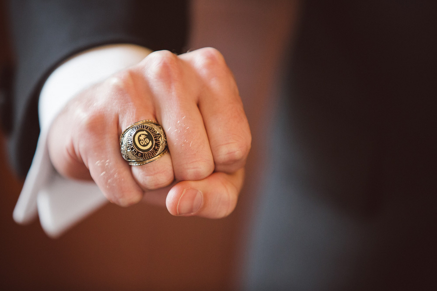 Groom's Clemson University ring at Charleston wedding by amelia + dan photography