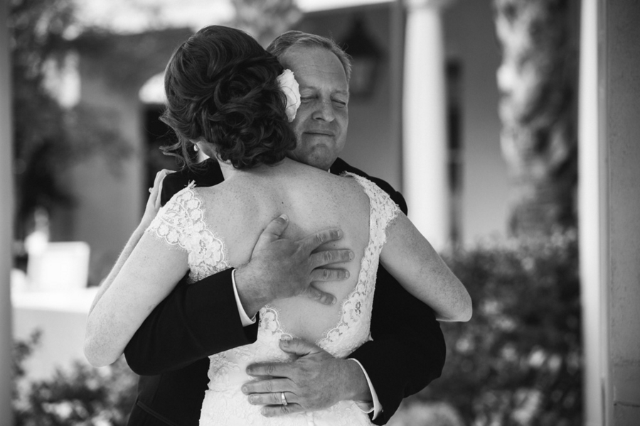 Father of the Bride First Look at Charleston wedding by amelia + dan photography