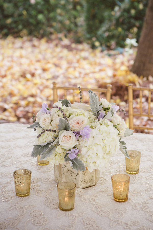 White Hydrangea and rose centerpieces at Charleston wedding by Branch Design Studio