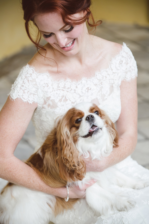 Charleston wedding dress by Allure with King Charles Spaniel