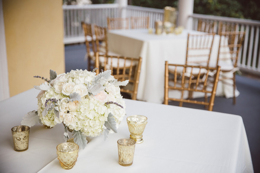 White hydrangea and dusty miller centerpieces by Charleston wedding florist Branch Design Studio