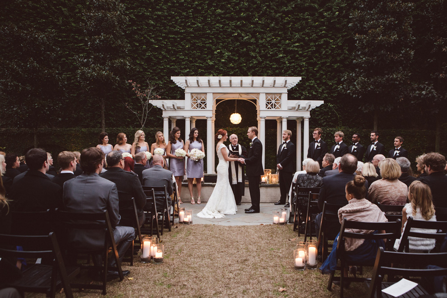 Outdoor Charleston wedding ceremony at The William Aiken House