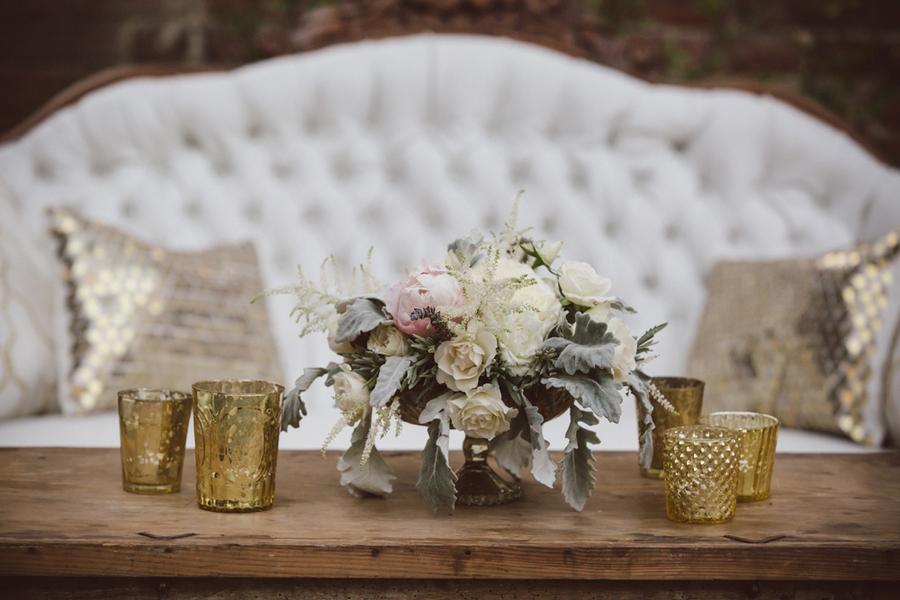White rose and astilbe centerpieces by Branch Design Studio at The William Aiken House