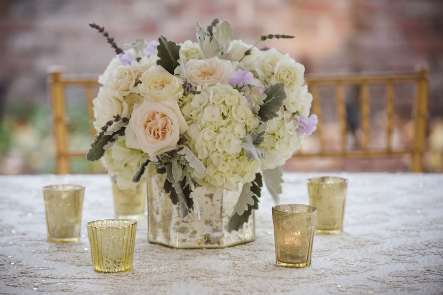White rose, hydrangea and dusty miller centerpieces by Charleston florist Branch Design Studio