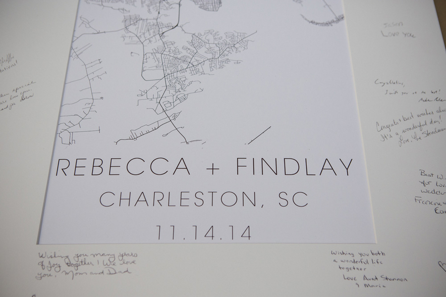 Lowcountry wedding guest book in Charleston, SCphotographed by amelia + dan photography