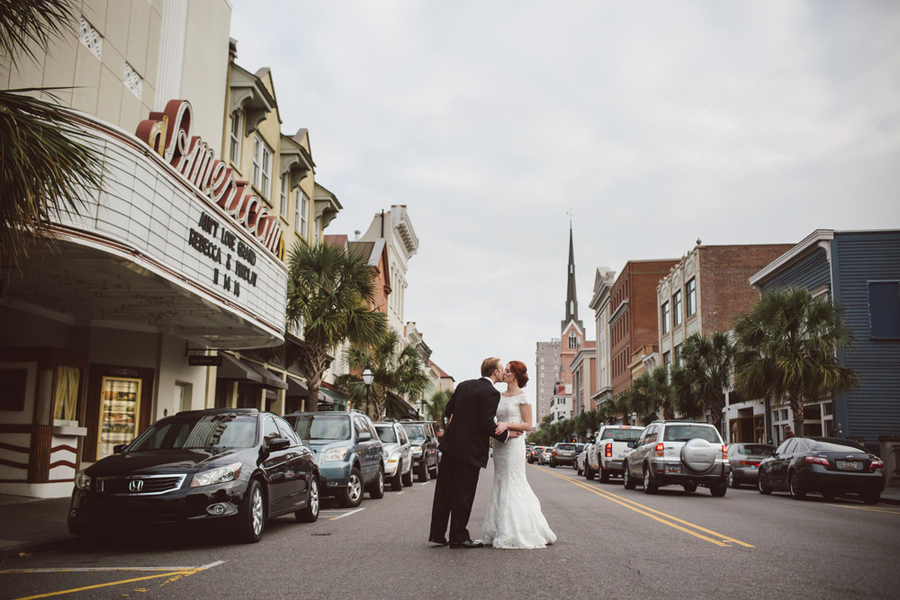 Elegant Charleston, South Carolina wedding on King Street in front of the American Theater