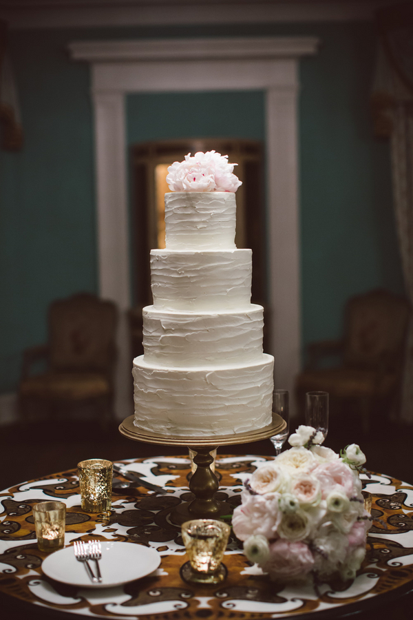 White Charleston wedding cake by Patrick Properties Hospitality group