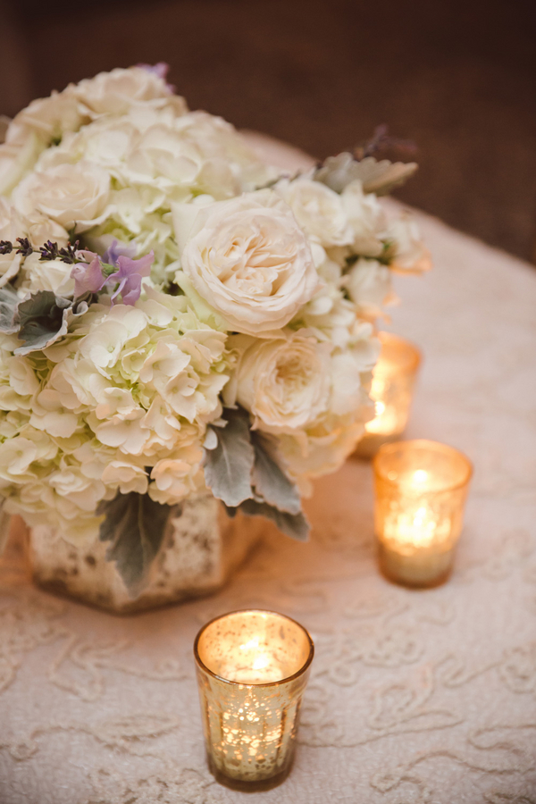White garden roses and hydrangeas and dusty miller by Branch Design Studio