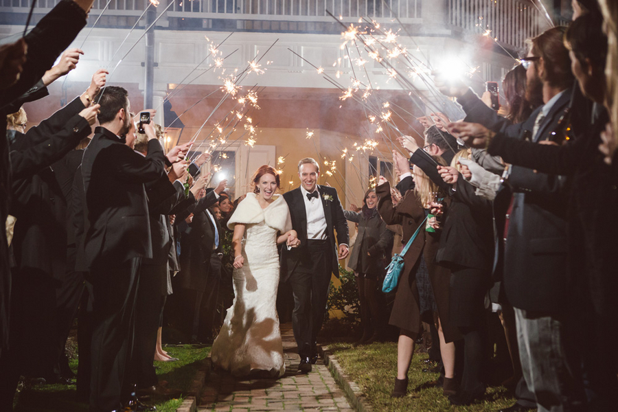 Sparkler Exit at Charleston wedding by amelia + dan photography