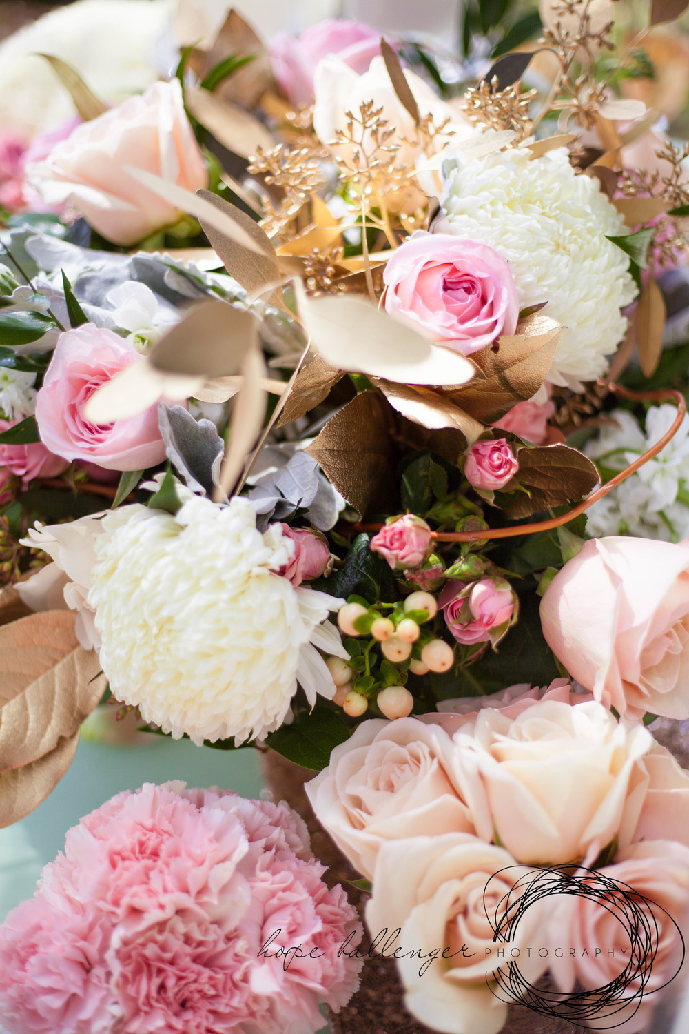 Charleston wedding bouquet by Lush Floral and Event Stylist with pink roses, carnations and dusty miller