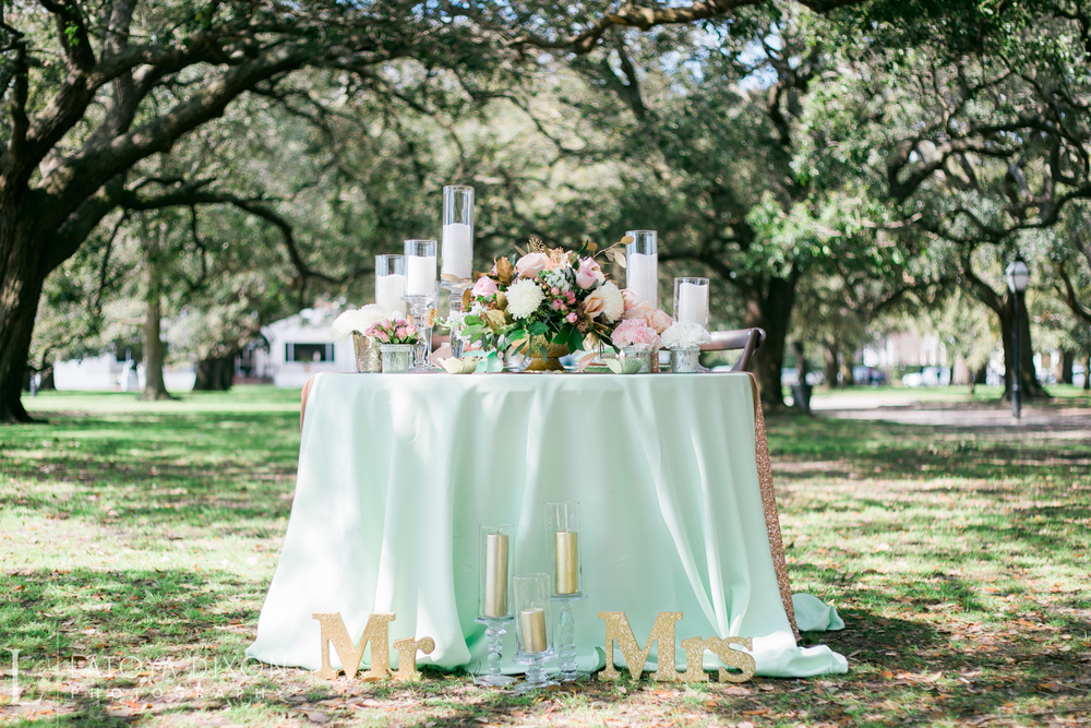 Pink, Mint and gold Charleston wedding inspiration by Latoya Dixon Photography