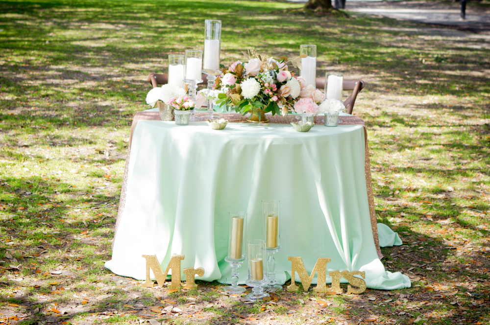 Pink, Mint and gold Charleston wedding inspiration by A Tailor Made Events