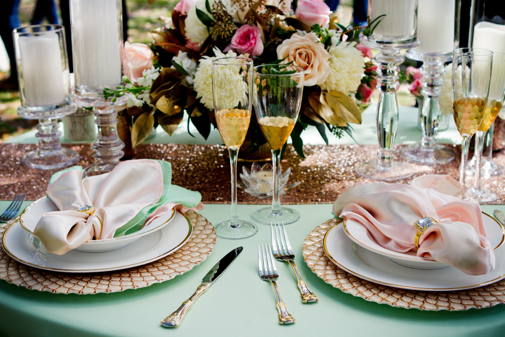 Pink, Mint and gold Charleston wedding inspiration by Avila Dawn Events