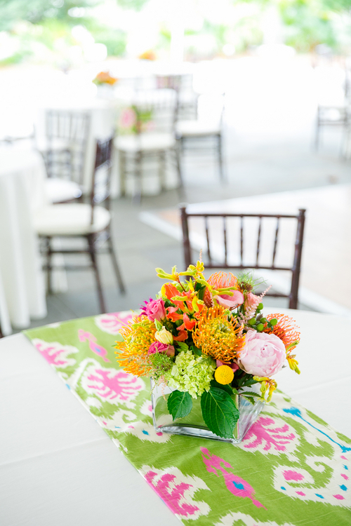 Colorful centerpieces at Preppy Lowndes rove wedding by Dana Cubbage