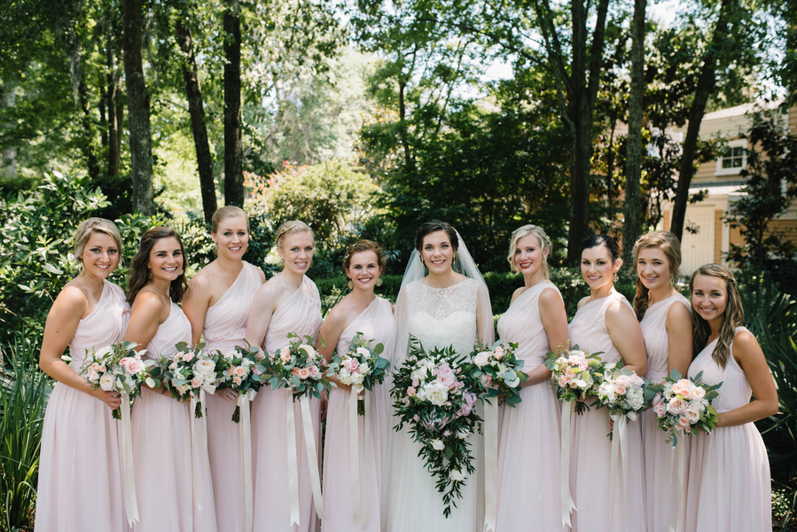 Pink One-Shouldered bridesmaids dresses rom Carolina Tradtions in Charleston, SC