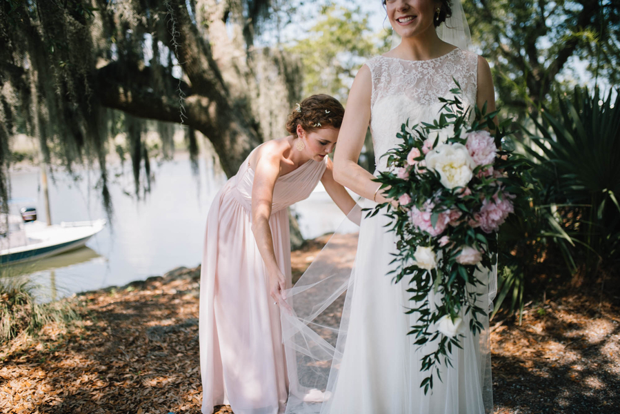 Cascading bouquet at Charleston wedding from Forget Me Nots