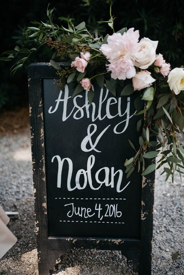 Chalkboard sign at Charleston wedding in South Carolina