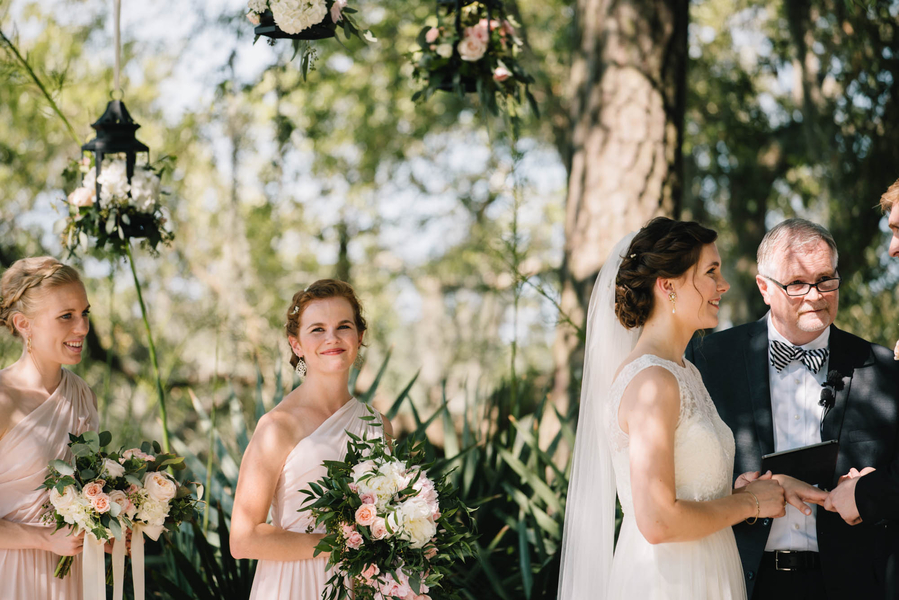 Pink bridesmaids dresses at Lowcountry wedding ceremony in Charleston, SC