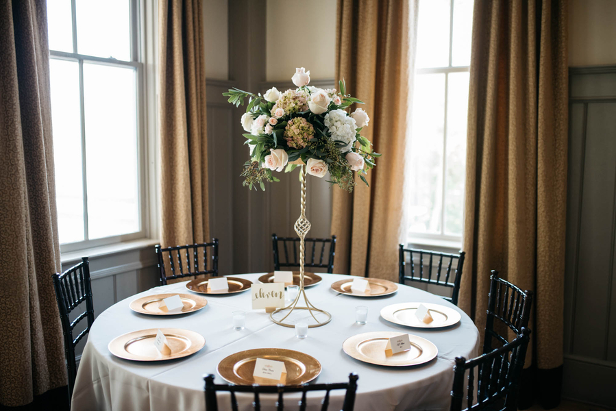Tall centerpiece by Forget Me Nots at Charleston wedding