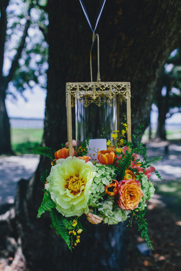 Hanging floral lanterns at by Branch Design Studio at Charleston wedding