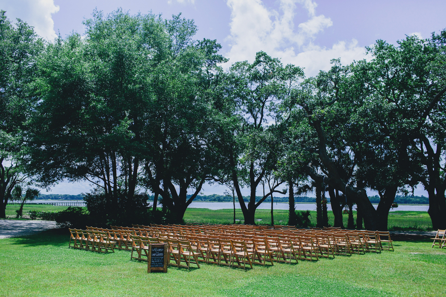Outdoor Charleston wedding ceremony at Lowndes Grove Plantation