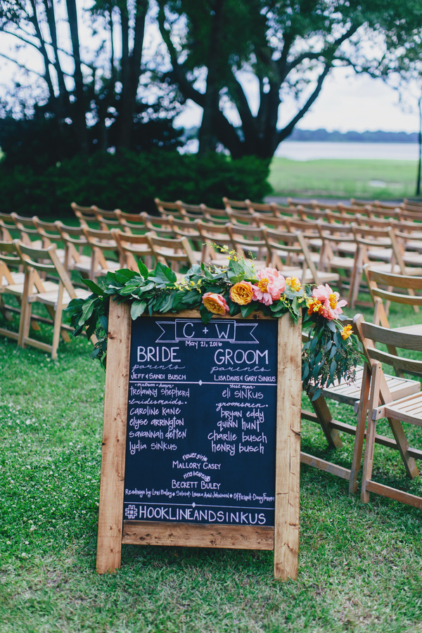 Chalkboard wedding program at Lowndes Grove Plantation