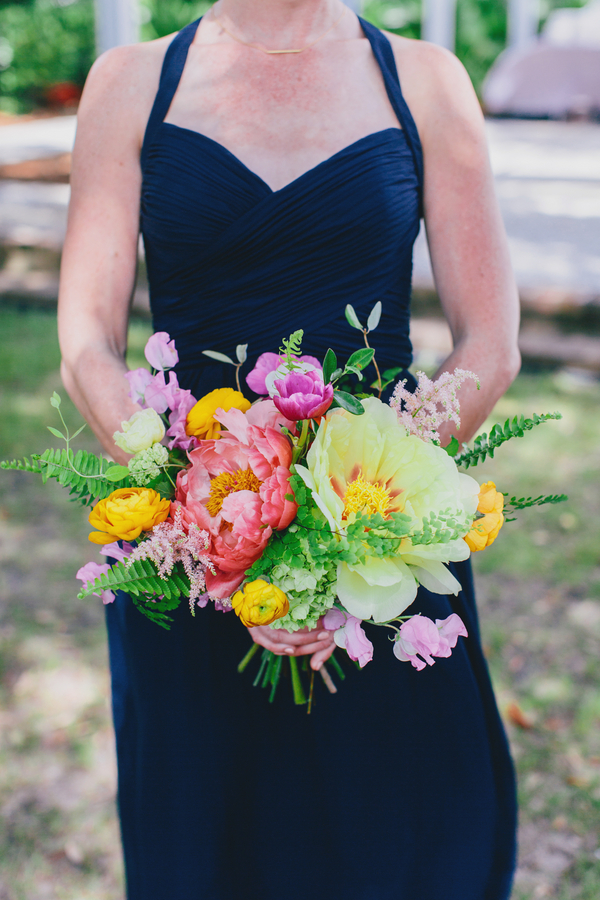 Pink peony and tulip bouquet at Charleston wedidng by Branch Design Studio
