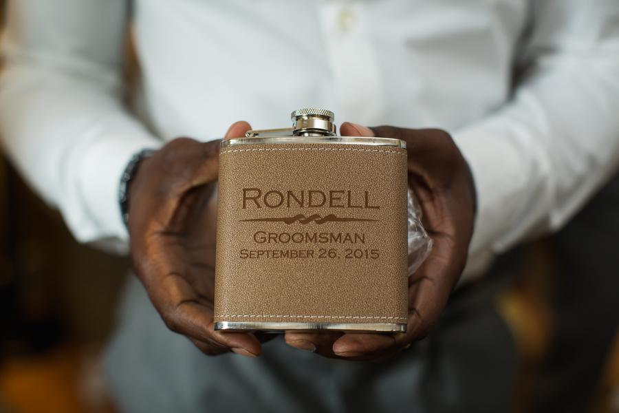 Lowcountry wedding groomsmen gift flask