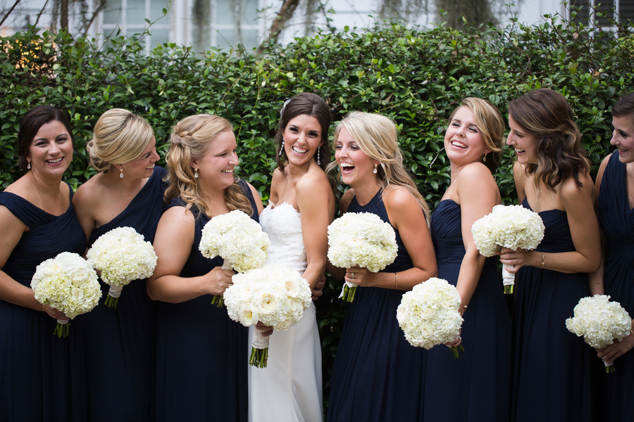 Navy bridesmaids dresses with white rose and hydrangea bouquets at Beaufort, SC wedding