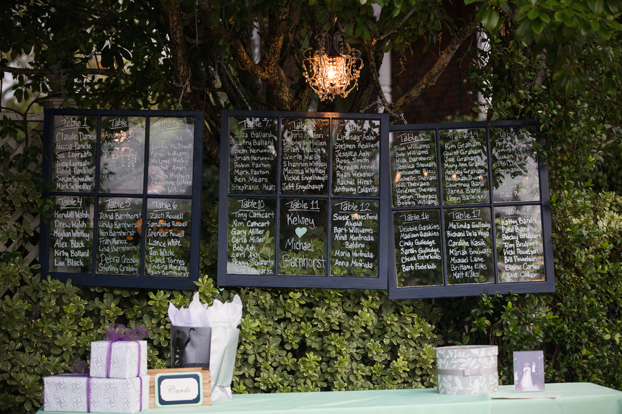 Table seating assignments on vintage windows at The Beaufort Inn