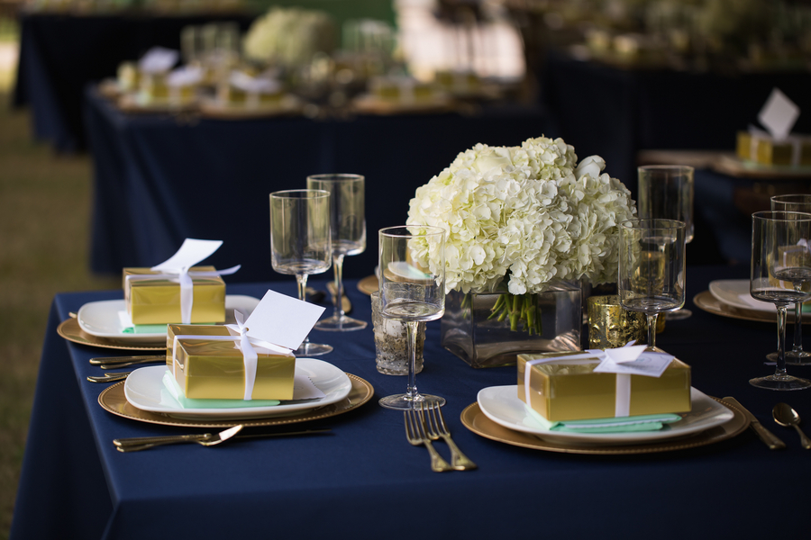 Navy and gold reception details at Lowcountry wedding