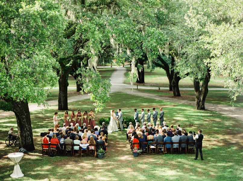 Oak trees and spanish moss at McLeod Plantation wedding ceremony