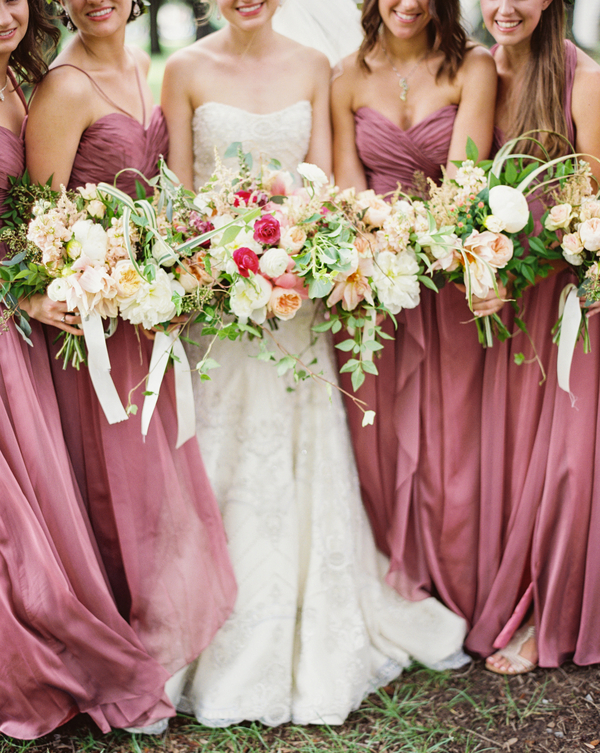 Antique rose bridesmaids dresses and natural bouquets at Charleston wedding