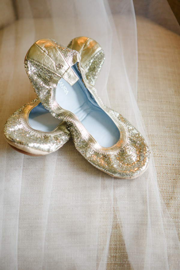 Gold flats at Charleston wedding on Kiawah Island, South Carolina