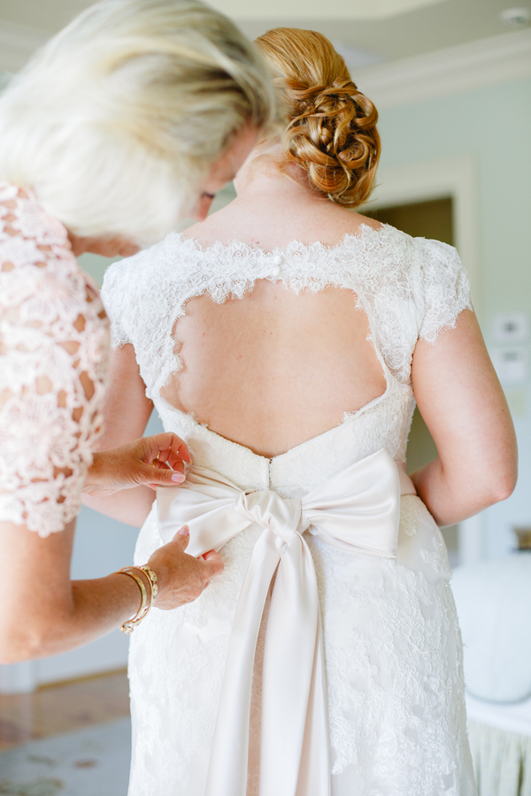 Cap sleeve lace wedding gown at Charleston, SC wedding