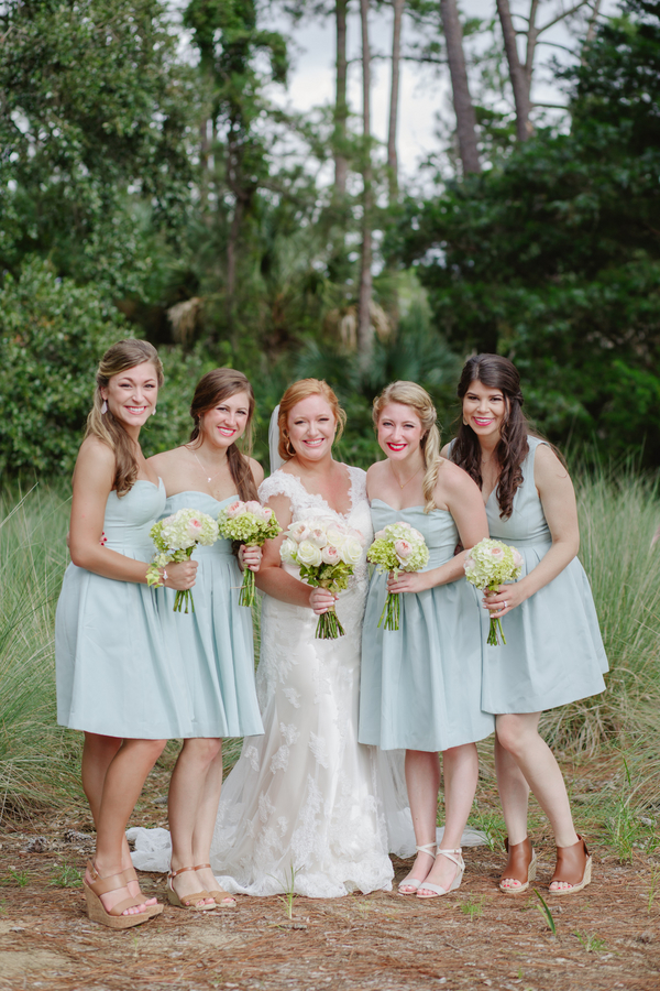 Ice Blue bridesmaids dresses at Charleston wedding on Kiawah Island, SC