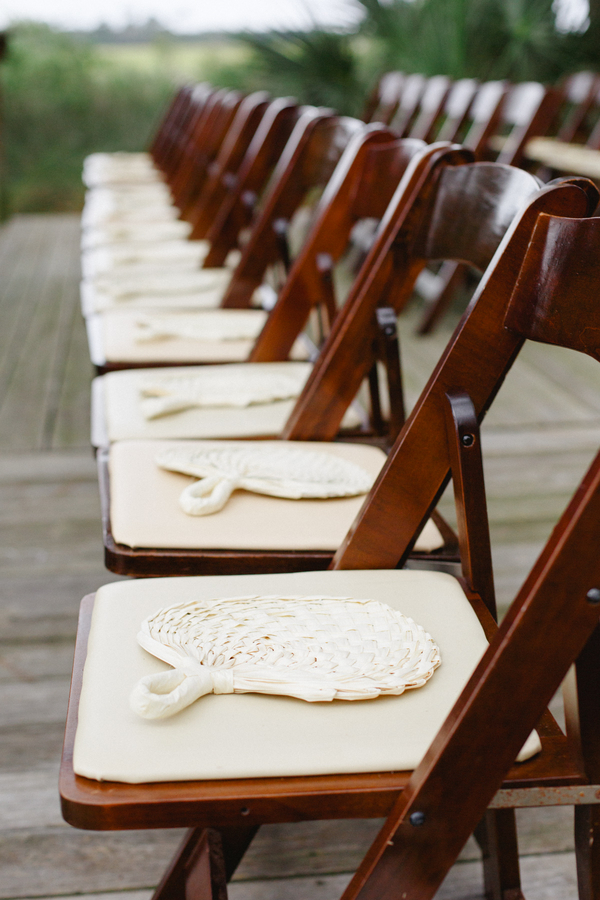 Natural raffia fans for Charleston wedding ceremony at Mingo Point