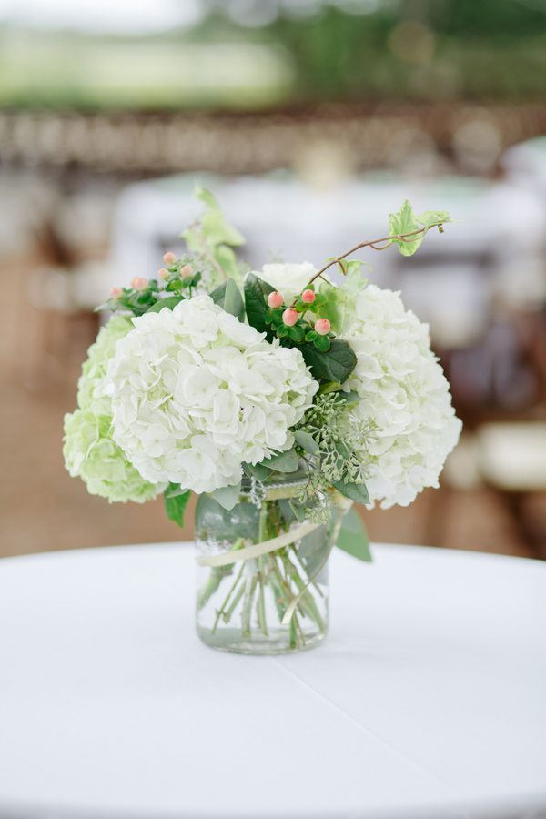 White hydrangea centerpieces at Lowcountry wedding on Kiawah Island by Anna Bella Florals
