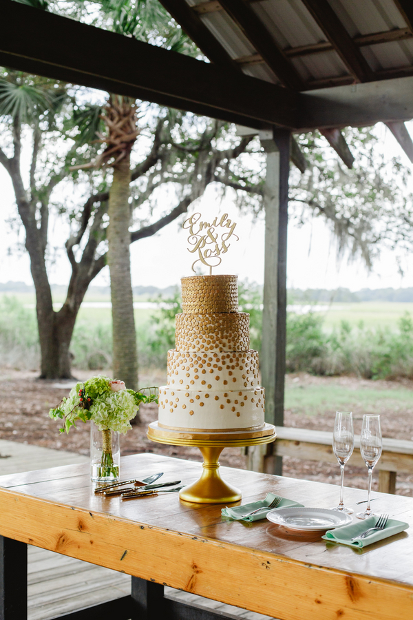 Gold polka dot Charlesotn wedding cake by DeClare Cakes