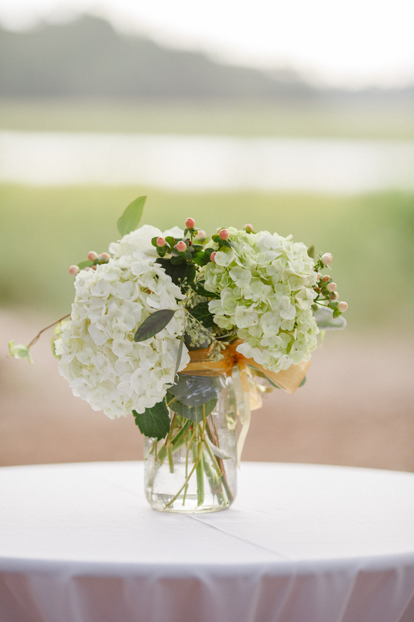 White hydrangea centerpieces at Lowcountry wedding on Kiawah Island, SC