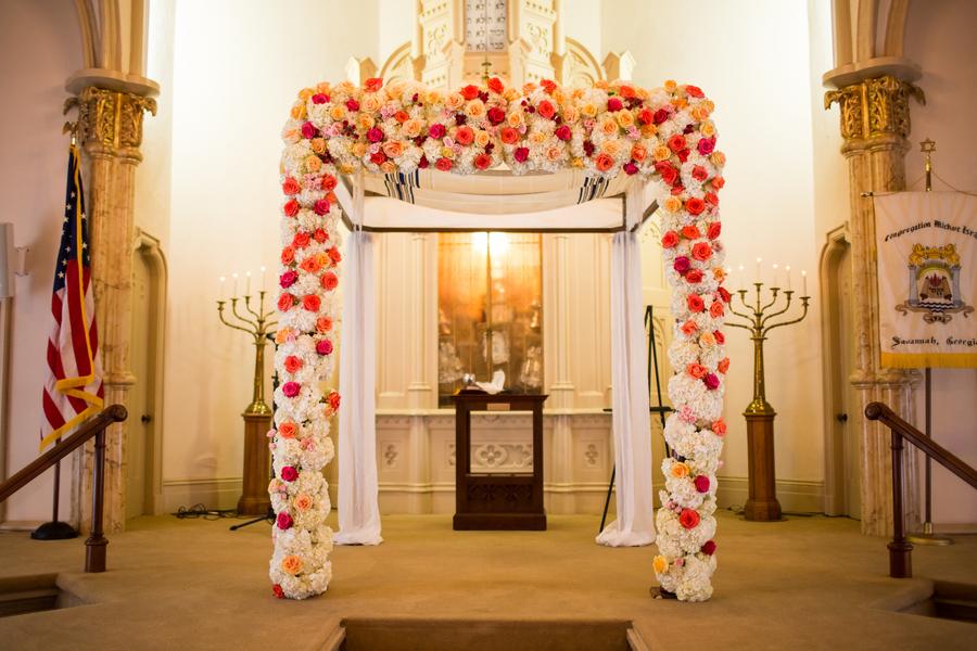 Jewish wedding ceremony chupah at Mickve Israel Synagogue in Savannah, Georgia