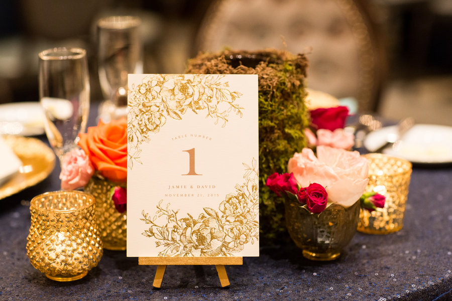 Gold foiled table numbers by Lowcountry Paper Co. at Savannah wedding