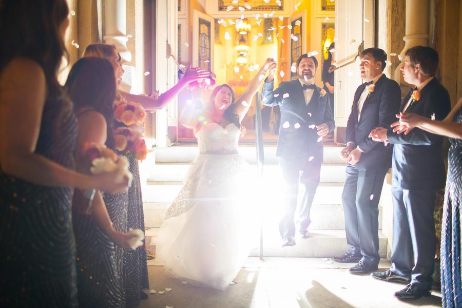 Savannah wedding reception exit with flower petals