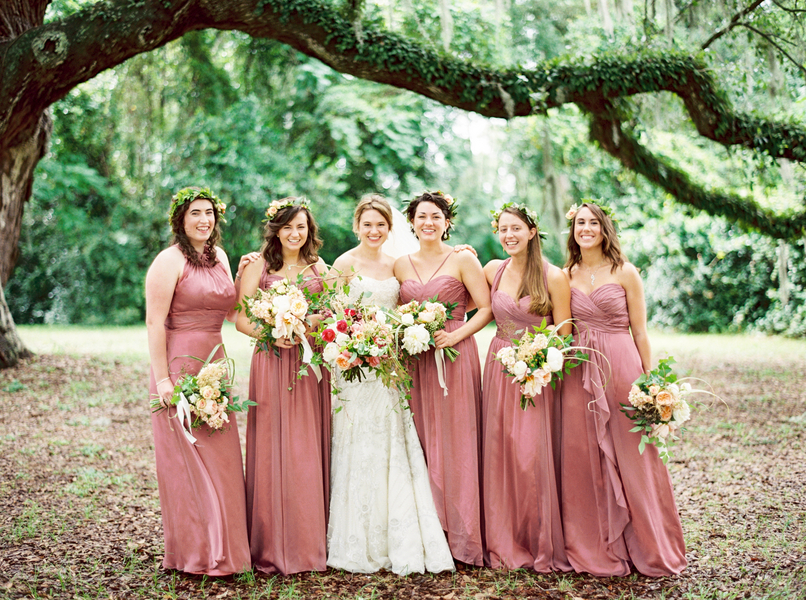 Long, antique rose bridesmaids dresses for Ellen + Dylan's Lowcountry wedding at McLeod Plantation by JoPhoto.