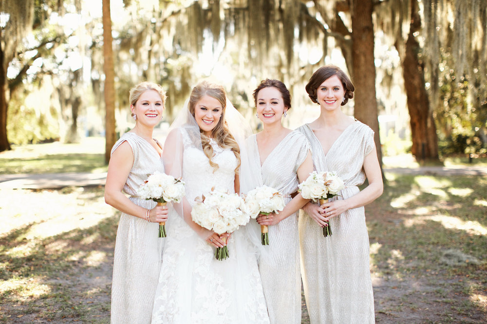 Long, gold sparkly bridesmaids dresses from Lulu's at Meredith + Trent's Bethesda Academy wedding by Happy Everything Co.